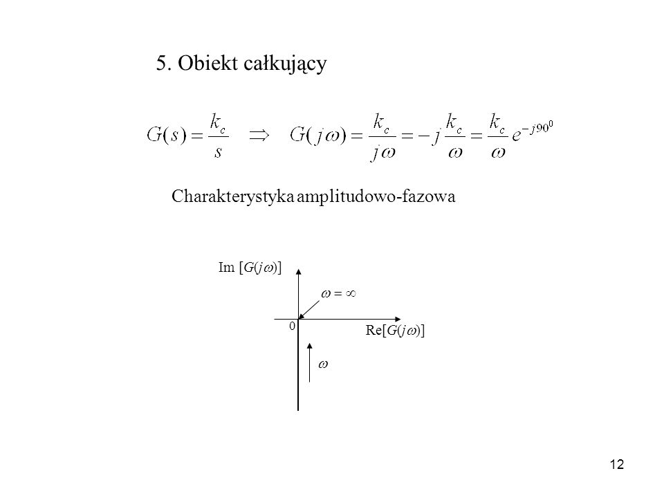 5. Obiekt całkujący Charakterystyka amplitudowo-fazowa Im [G(j)]